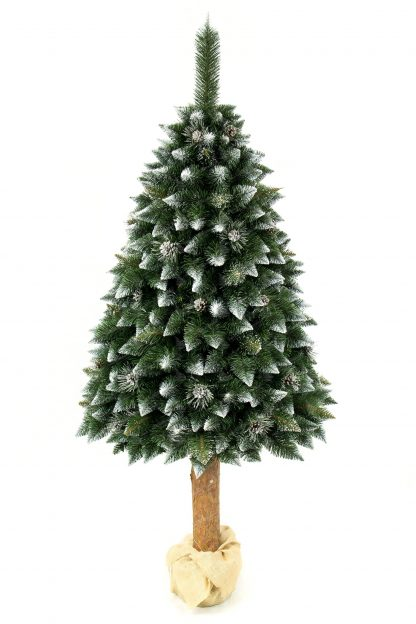 Umělý vánoční stromeček Borovice Stříbrná s krystaly ledu na pařezu