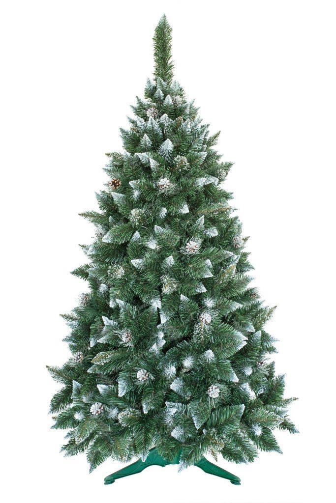 Umělý vánoční stromeček Borovice se stříbrnými šiškami, bílými špičatými konečky větviček a imitací krystalků ledu. Stromek mě velký počet větviček a dokonalý tvar .Stromček stojí na umělém stojanu.