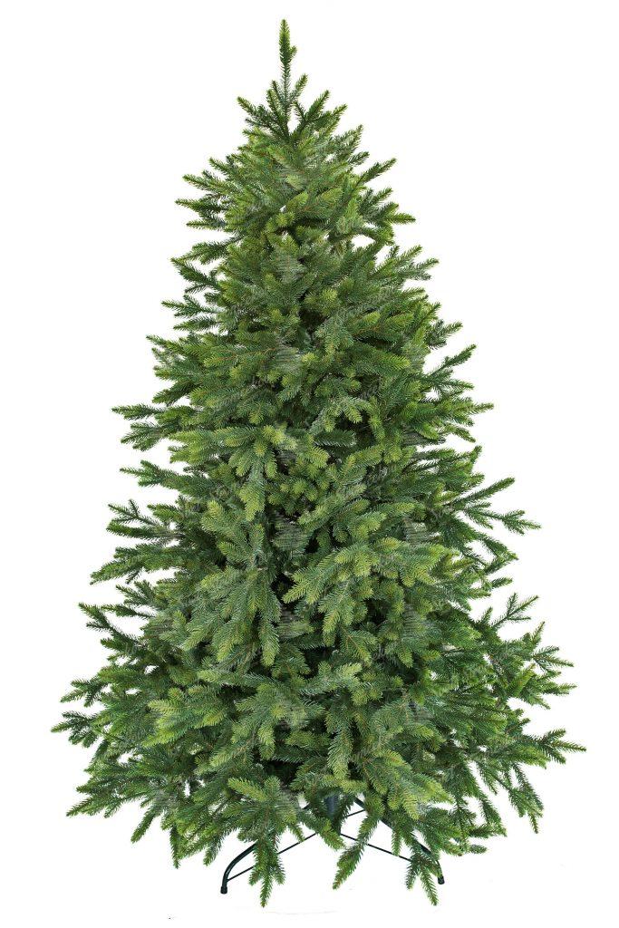 Krásný umělý vánoční stromek který má konce větviček zabarvené do bledězelená a tak připomíná čerstvé výhonky větviček. Stromek díky dokonalým 3D Větvička je k nerozeznání od živého. Hezký úhledný tvar doplňují vyčnívající větvičky pro ještě přirozenější vzhľad.Hustý vánoční stromek stojí na železném stojanu.