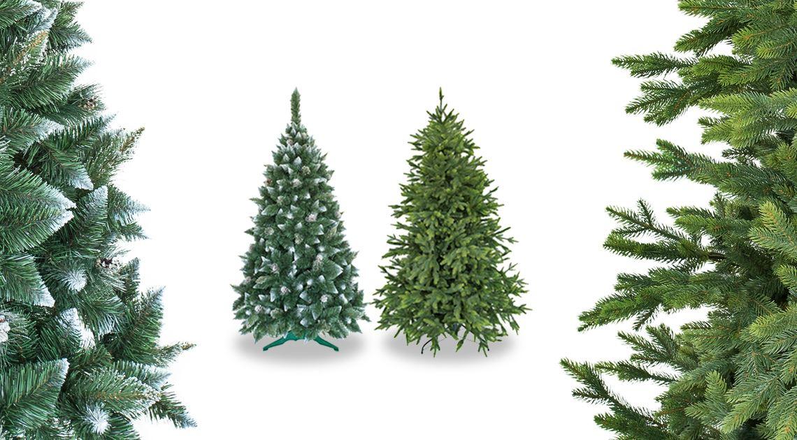 Uprostřed obrázku jsou dva umělé vánoční stromky. Jeden je klasicky 2D a druhý je 3D umělý vánoční stromek. Z levé i pravé strany obrázku jsou detaily obou stromků.