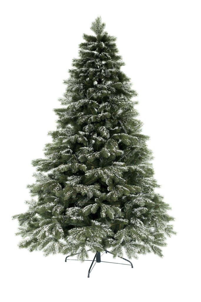 Vánoční stromek má všechny 3D větvičky po obvodu mírně zasněžené. Sníh je velmi realistický a tak celý stromeček působí velmi autentickým dojmem. Stromek má velký počet větviček a tudíž je i velmi hustý. Cely stromeček je postaven na kovovém stojanu.