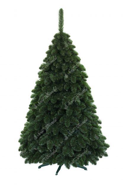 Krásný umělý vánoční stromek Borovice Sibiřská obsahuje velký počet větviček a tak působí velmi hustým dojmem. Větvičky mají přirozenou zelenou barvu a směřují směrem dolů jako pravá Borovice Sibiřská. Stromek je postaven na umělém stojanu.