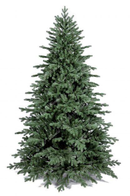 Umělý vánoční stromek tmavší zelené barvy. Celý stromeček pokrývají 3D větvičky a proto je k nerozeznání od živého. Stromek stojí na kovovém stojanu.