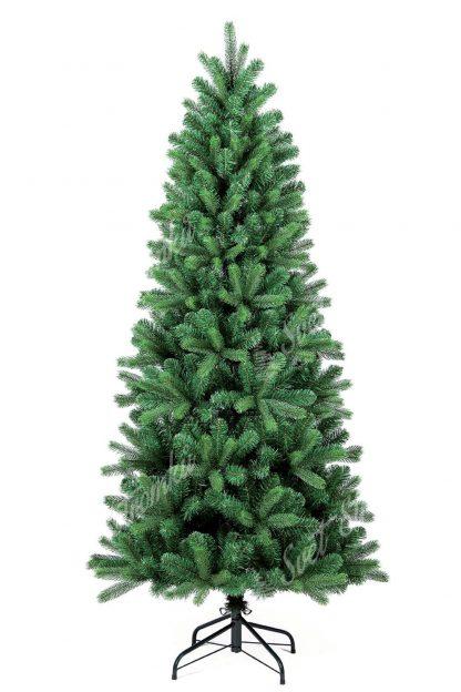 Stromek je jehlanový úzkého tvaru a je tvořen klasickým PVC jehličím doplněným o 3D větvičky. Stromek stojí na kovovém stojanu.