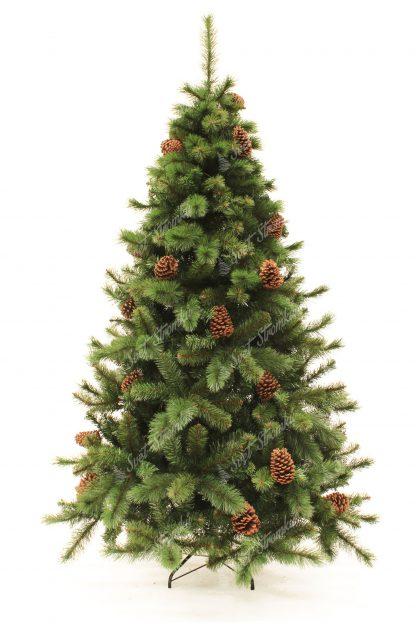 Stromek je pokryt klasickým PVC ale i PP jehličím, které dokonale napodobuje borovicové jehličí. Stromek má krásný přírodní vzhled a celý je postaven na kovovém stojanu.