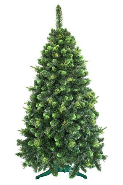 Umělý vánoční stromeček zelené barvy. Konečky větviček zabarvené do bledunko nazelenalé barvy. Okraje stromečku lemují Pozlacená nazelenalé borové šišky. Stromek je postaven na umělém stojanu. Větvičky stromku jsou od země vzdáleny 15cm.