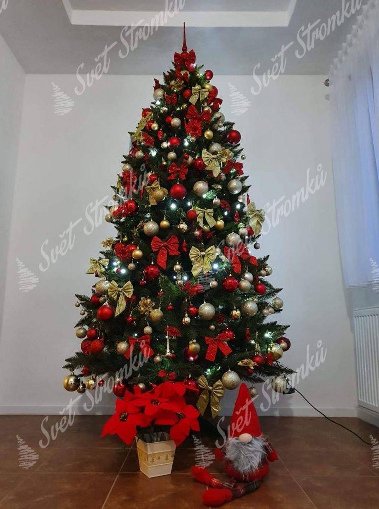 Zelený vánoční stromek smrk ozdobený červenými koulemi a mašlemi a zlatými mašlemi.