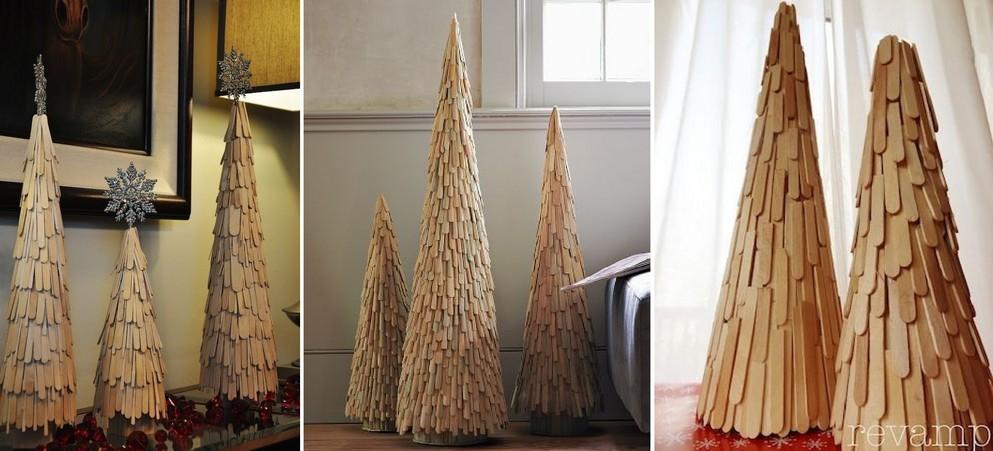 Vánoční stromek z nanukových hůlek