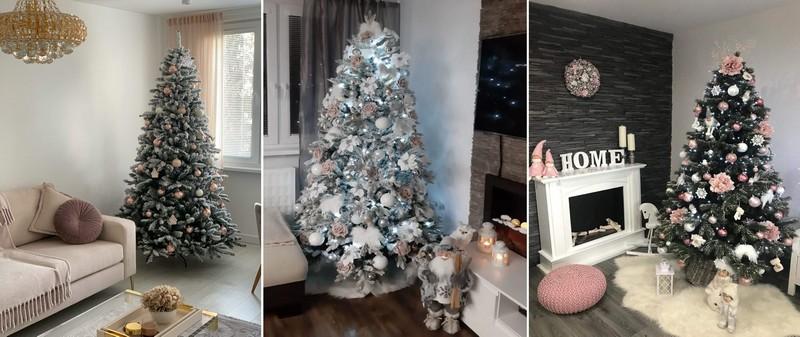 Tři moderně ozdobené vánoční stromky s různými vánočními ozdobami.