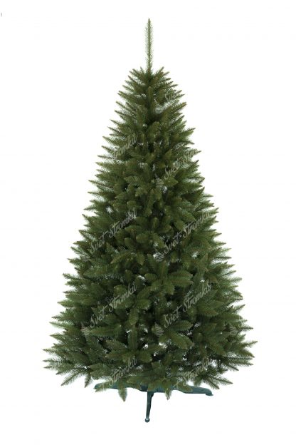 Vánoční stromek pěkného, uhlazeného jehlanový tvaru. Stromek má velký počet úzkých větviček díky čemuž je opravdu hustý. Stromek je postaven na umělém stojanu.