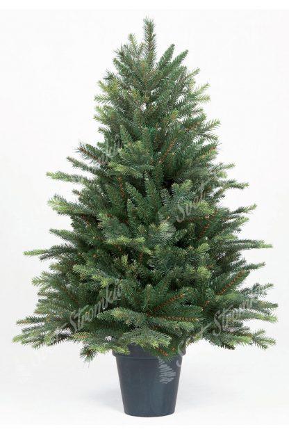 Malý umělý vánoční stromek ve výšce 110cm. Stromek obsahuje mnoho 3D větviček a tak vypadá jako živý. Stromek je zasazen v umělém květináči.