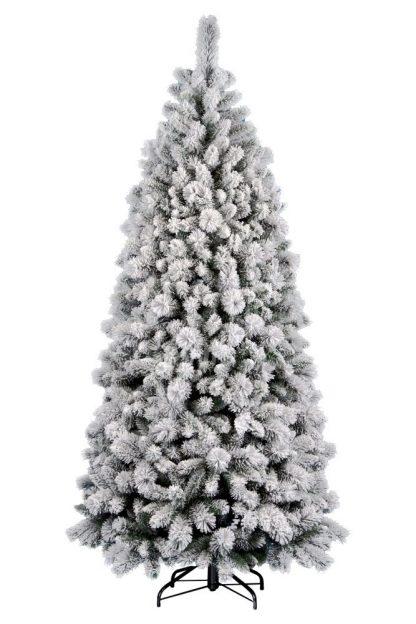 Umělý vánoční stromek ve tvaru úzkého jehlanu. Stromek je celý pokryt bílým sněhem. Stromek má velký počet větviček a proto je opravdu hustý. Stromek stojí na železném stojanu.