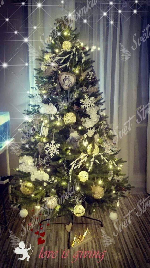 Ozdobený umělý vánoční stromek 3D Smrk Alpský 180cm