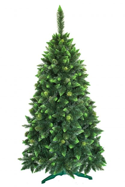 Umělý vánoční stromeček Borovice Kvetoucí s krystaly ledu. Stromek má tmavozelenou barvu. Konečky větviček mě zastřižené do špice a obarvené do olivové zelené barvy. Některé větvičky jsou pokryty imitací ledu, která je také zelené barvy. Stromek zdobí borové šišky pokryté zelenými třpytkami. Stromek stojí na umělém stojanu.