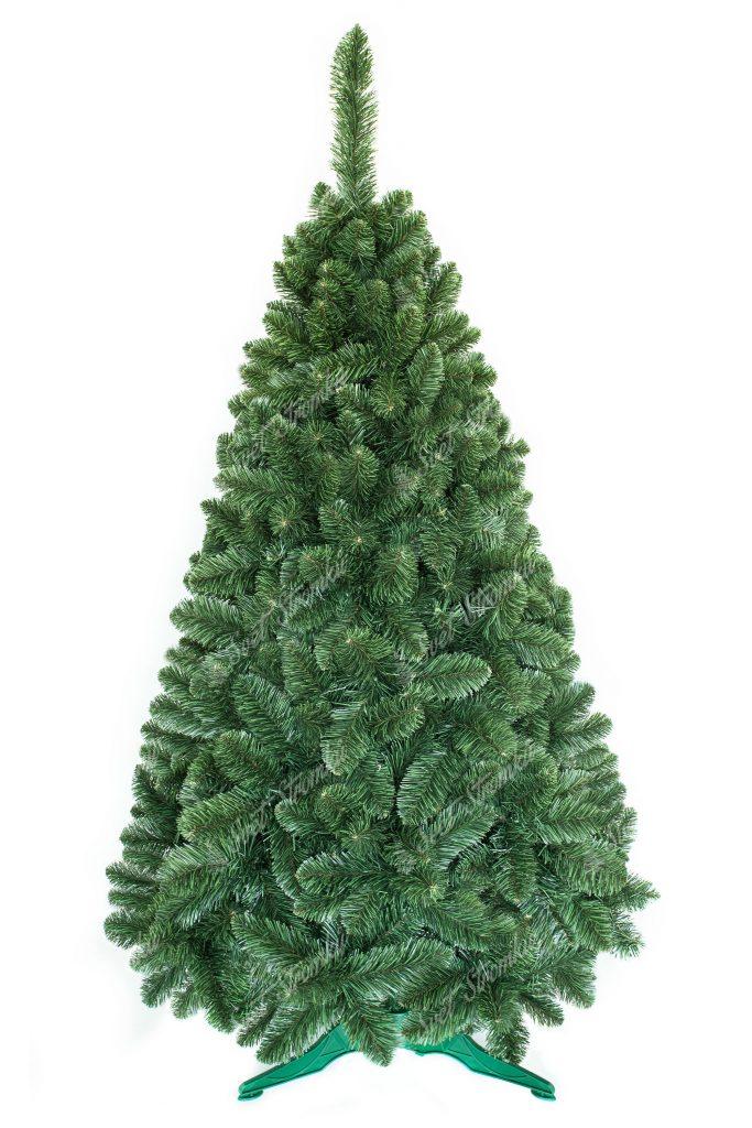Obrázek umělého vánočního stromku. Celý stromeček ma jednu přirozené zelené barvu a velký počet větviček díky kterým je opravdu hustý. Stromek stojí na umělém stojanu.