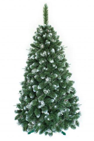 Umělý vánoční stromeček borovice se stříbrnými šiškami a do bílá zabarvenými konečky větviček. Extra hustý do jehlanu tvarovaný vánoční stromeček postaven na umělém stojanu.