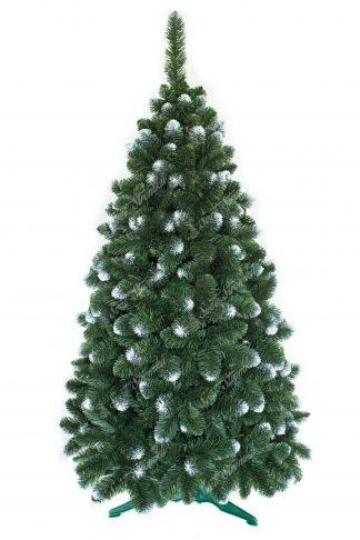 Umělý vánoční stromek s velkým počtem větviček. Některé konečky větviček jsou zbarveny do bílá a tak připomínají sníh. Stromek stoji na umělém stojanu.