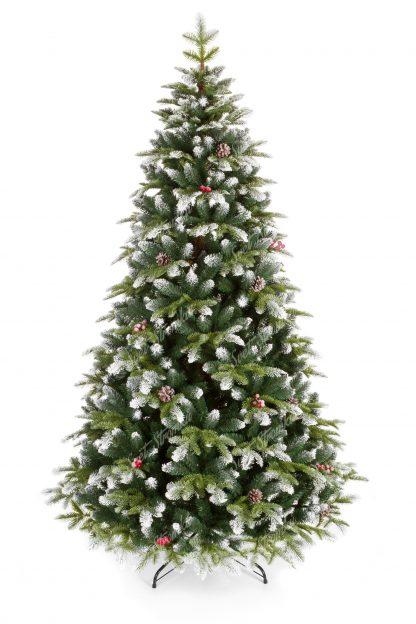 Umělý vánoční stromek 3D Jedle Zasněžená se vyznačuje svou dvoubarevnosti jehličí, které je po koncích zasněžené umělým sněhem. Stromek mě hezký tvar a cely je postaven na kovovém stojanu.