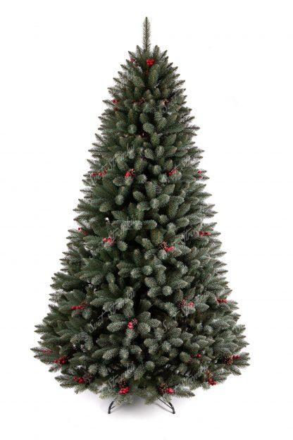 Stromek ma úhledný kuželový tvar s velkým počtem větviček. Větvičky jsou pokryty malými chomáčky které dodávají stromku zmrzlý vzhled. Stromek je postaven kovovém stojanu.