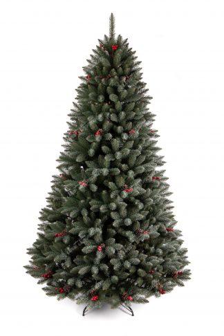 Stromček ma úhladny kužeľový tvar s veľkým počtom vetvičiek. Vetvičky sú pokryté malými chumáčikmi ktoré dodávaju stromčeku zamrznutý vzhľad. Stromček je postavený kovovom stojane.
