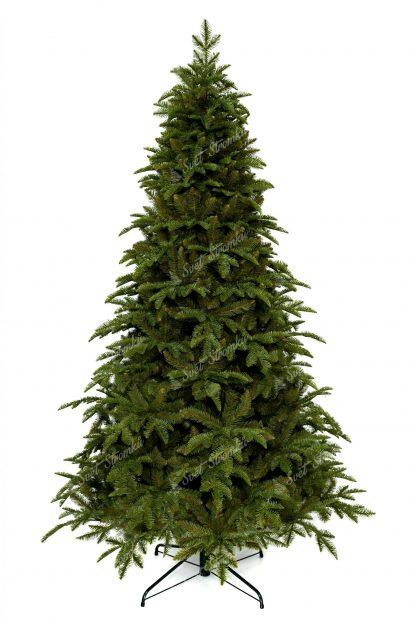 Umělý vánoční stromek 3D Jedle Kavkazská. Stromek je bledě zelené barvy a cely je postaven na kovovém stojanu.
