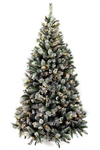 Zasněžený vánoční stromeček Borovice Bílá s LED osvětlením teplé bílé barvy.