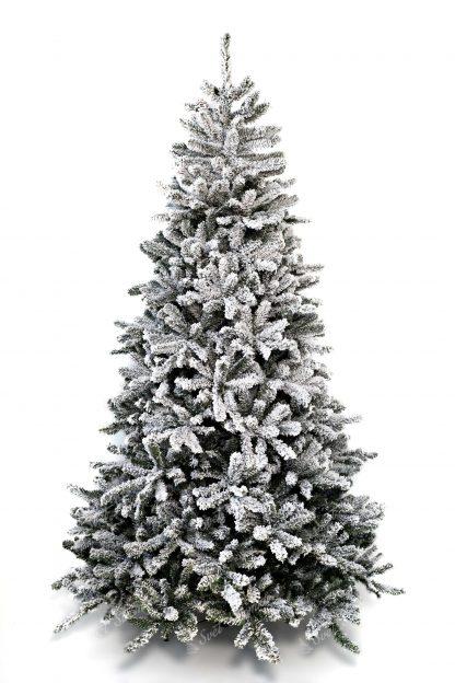 Vánoční stromek bílé barvy. Celo zasněžený stromeček.