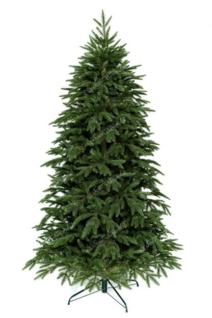 3D Vánoční stromek zelené barvy, který stojí na železném stojanu.