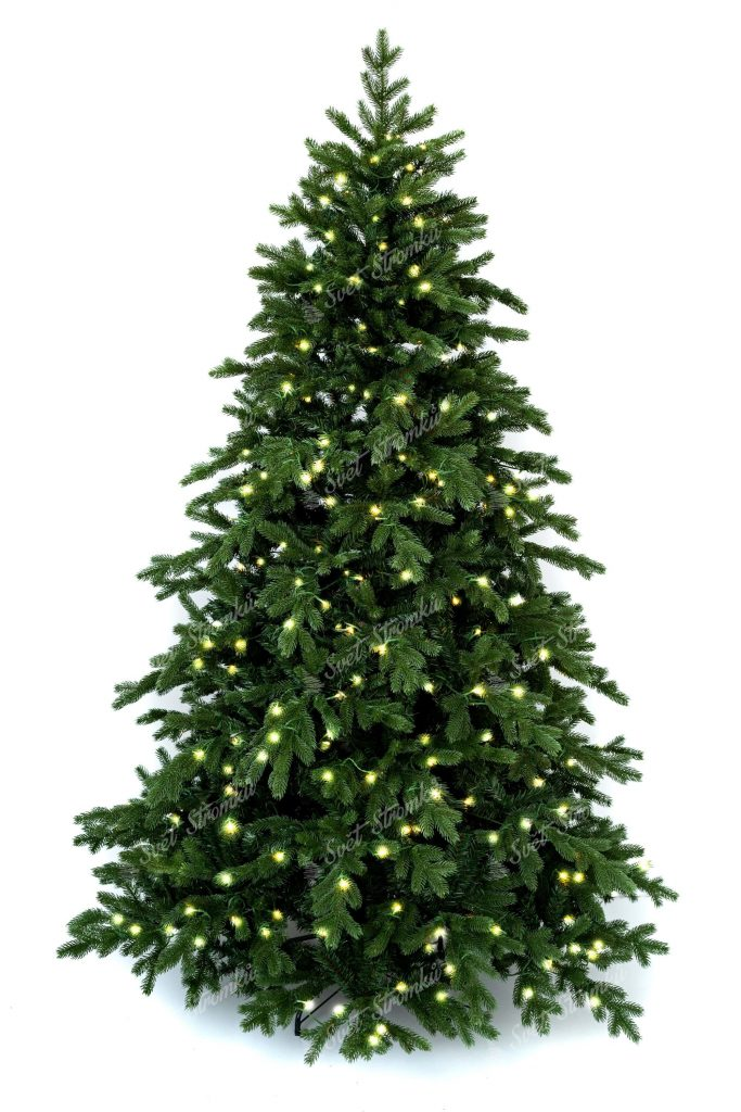 3D vánoční stromek tmavší zelené barvy. Celý obvod stromku je tvořen 3D větvičkami a vánočním LED osvětlením svítící teplou bílou barvou.