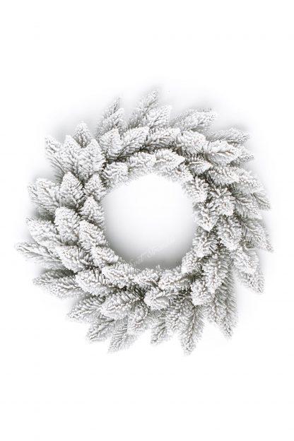 Bílý vánoční věnec z vrchu.
