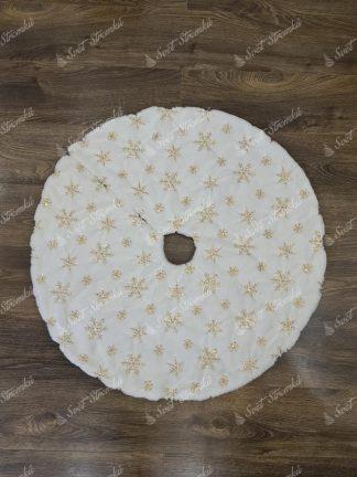 Bílý koberec pod vánoční stromek se zlatými vločkami